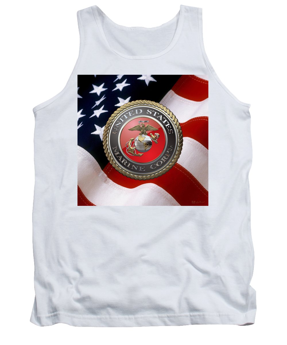 'military Insignia & Heraldry 3d' Collection By Serge Averbukh Tank Top featuring the digital art U S M C Emblem Over American Flag by Serge Averbukh