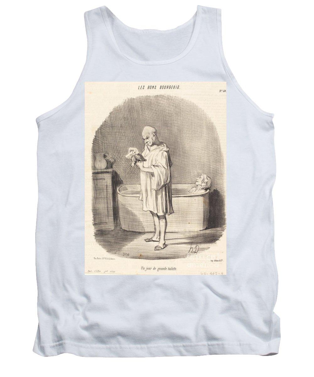 Tank Top featuring the drawing Un Jour De Grande Toilette by Honor? Daumier