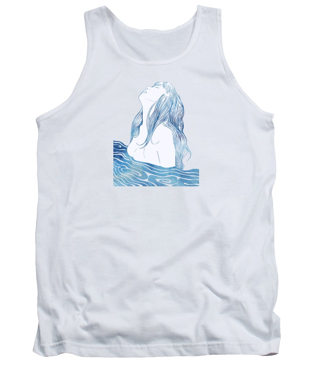 Aqua Tank Top featuring the mixed media Undine I by Stevyn Llewellyn