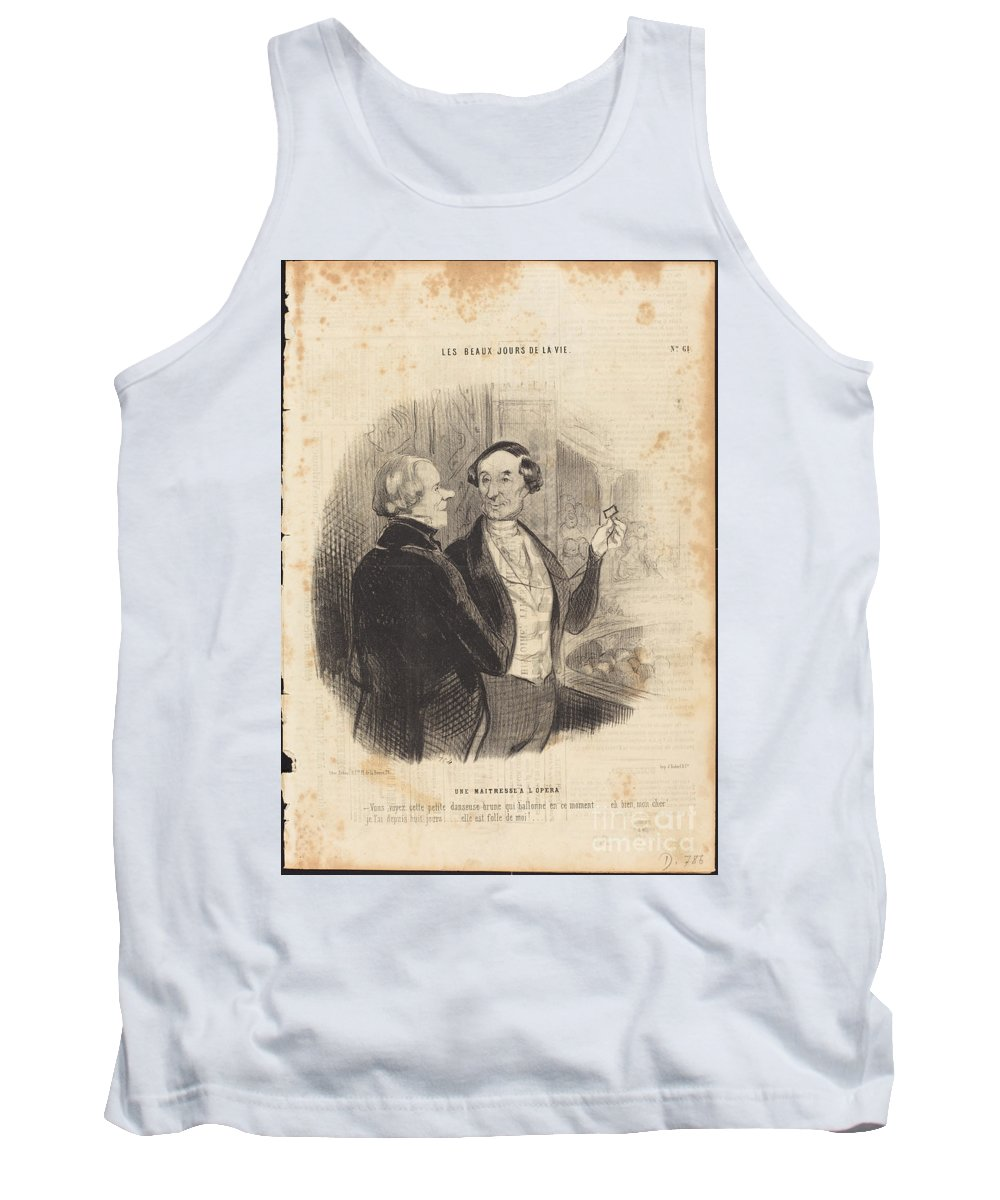 Tank Top featuring the drawing Une Maitresse A L'op?ra by Honor? Daumier