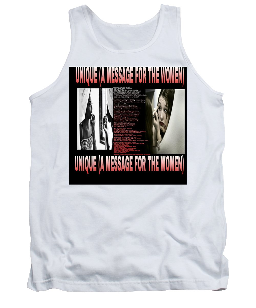 Suicide Prevention Tank Top featuring the mixed media Unique by Jason Rivers