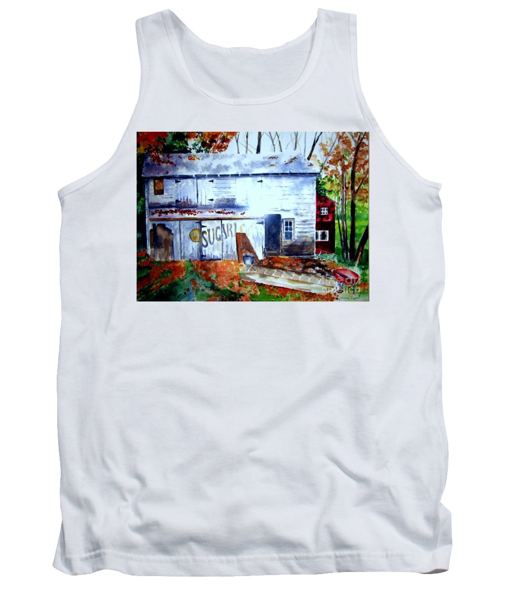 Autumn Tank Top featuring the painting Upstate Barn by Sandy Ryan