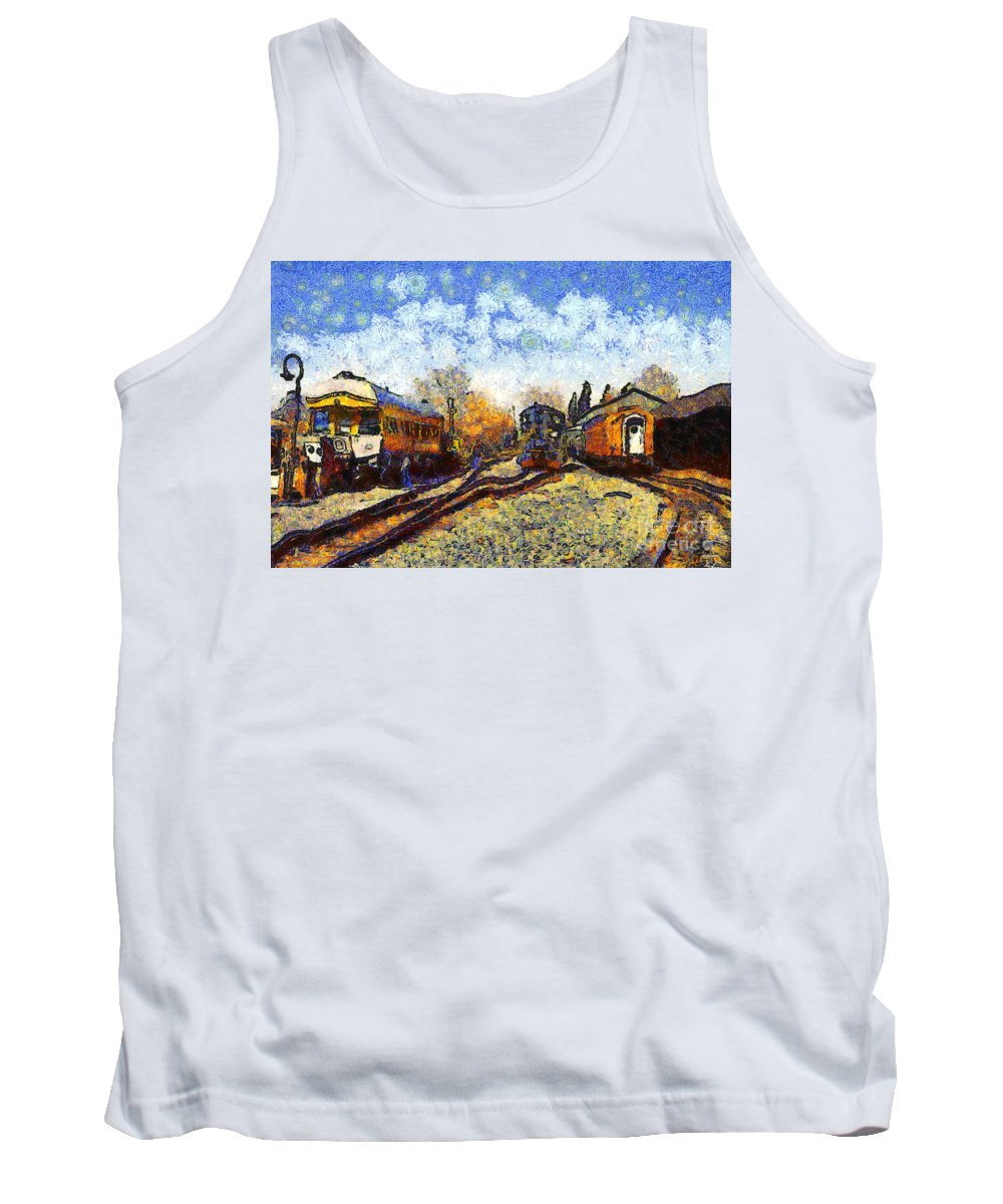 Transportation Tank Top featuring the photograph Van Gogh.s Train Station 7d11513 by Wingsdomain Art and Photography