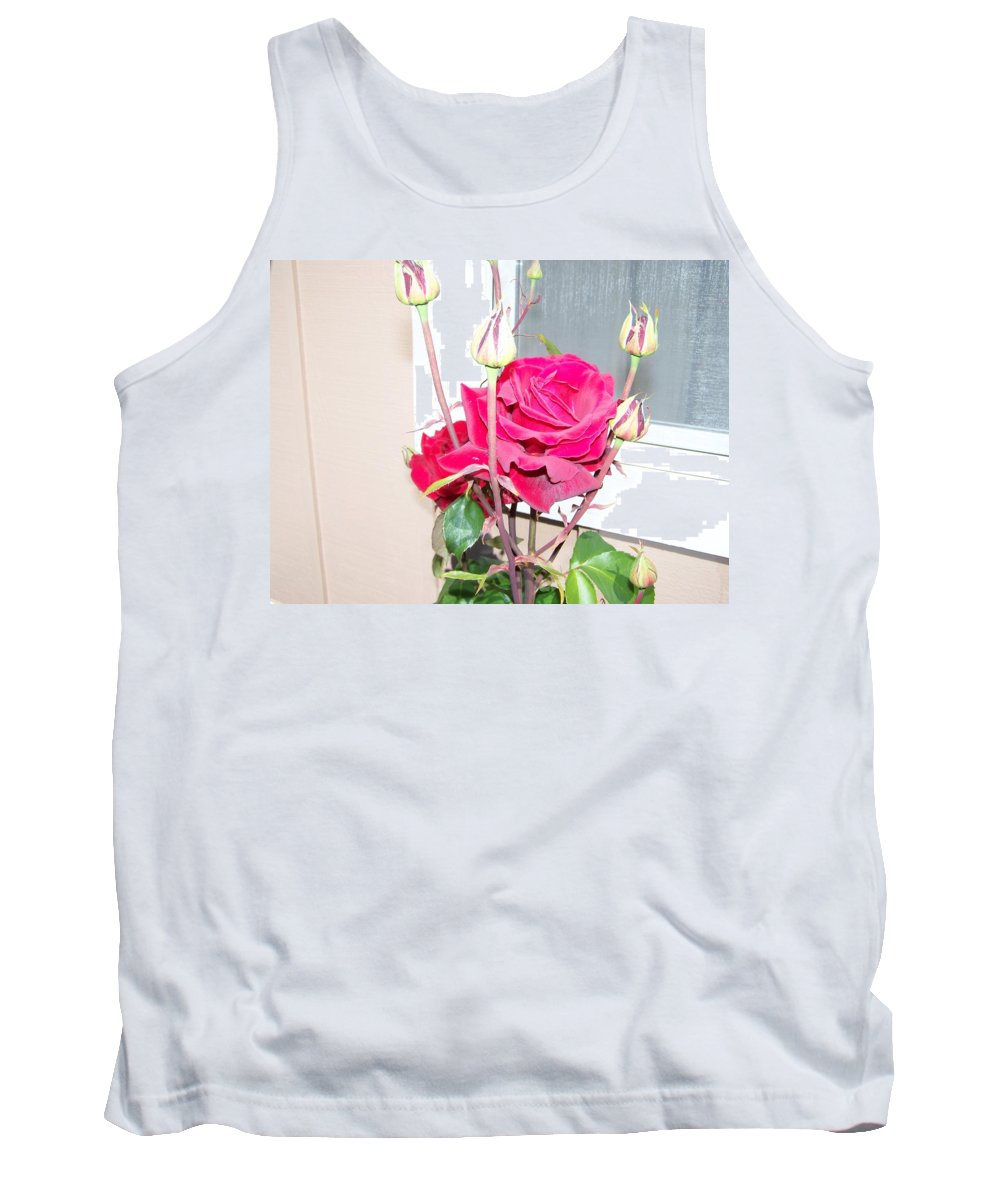 Digital Photography Artwork Tank Top featuring the photograph Velvet Red Rose Of Sharon by Laurie Kidd