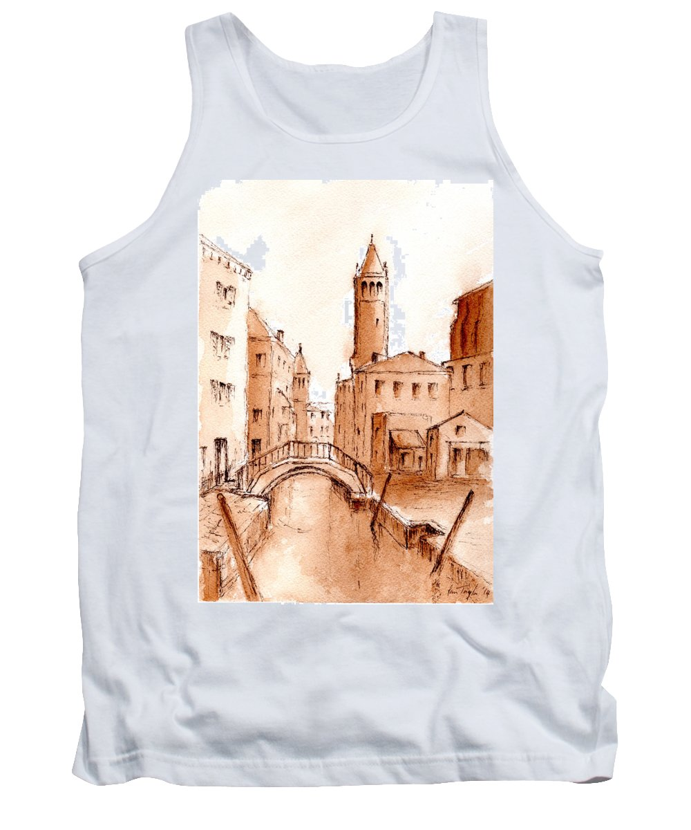 Venice Tank Top featuring the mixed media Venice Backwater by Pam Taylor