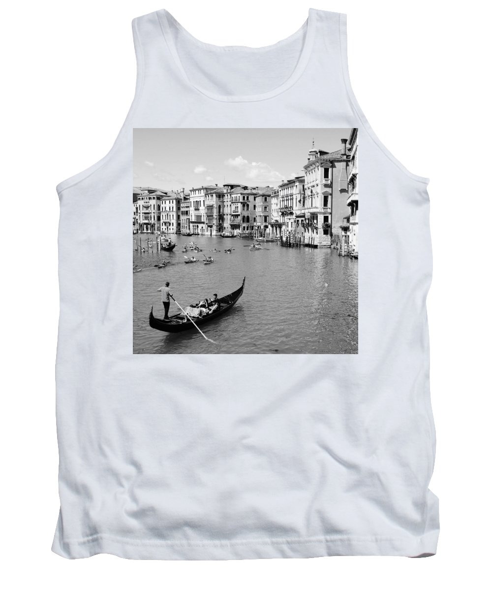 A Wonderful View Of The Grand Canal From Venice From The Rialto Bridge Tank Top featuring the photograph Venice In Black And White by Victor Carvalho