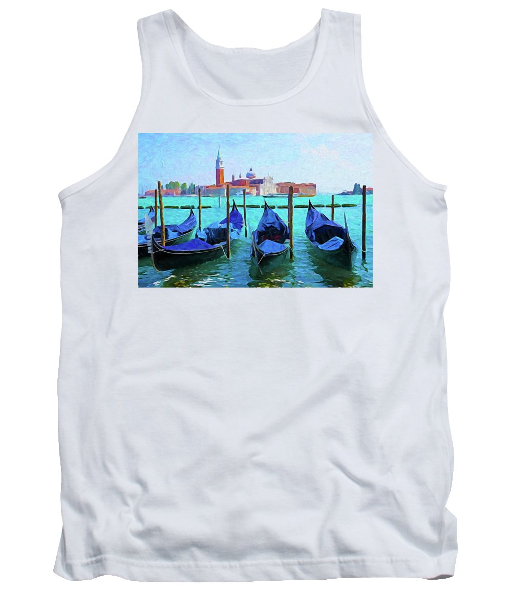 Italy Tank Top featuring the digital art Venice Lagoon Gondolas by Dennis Cox