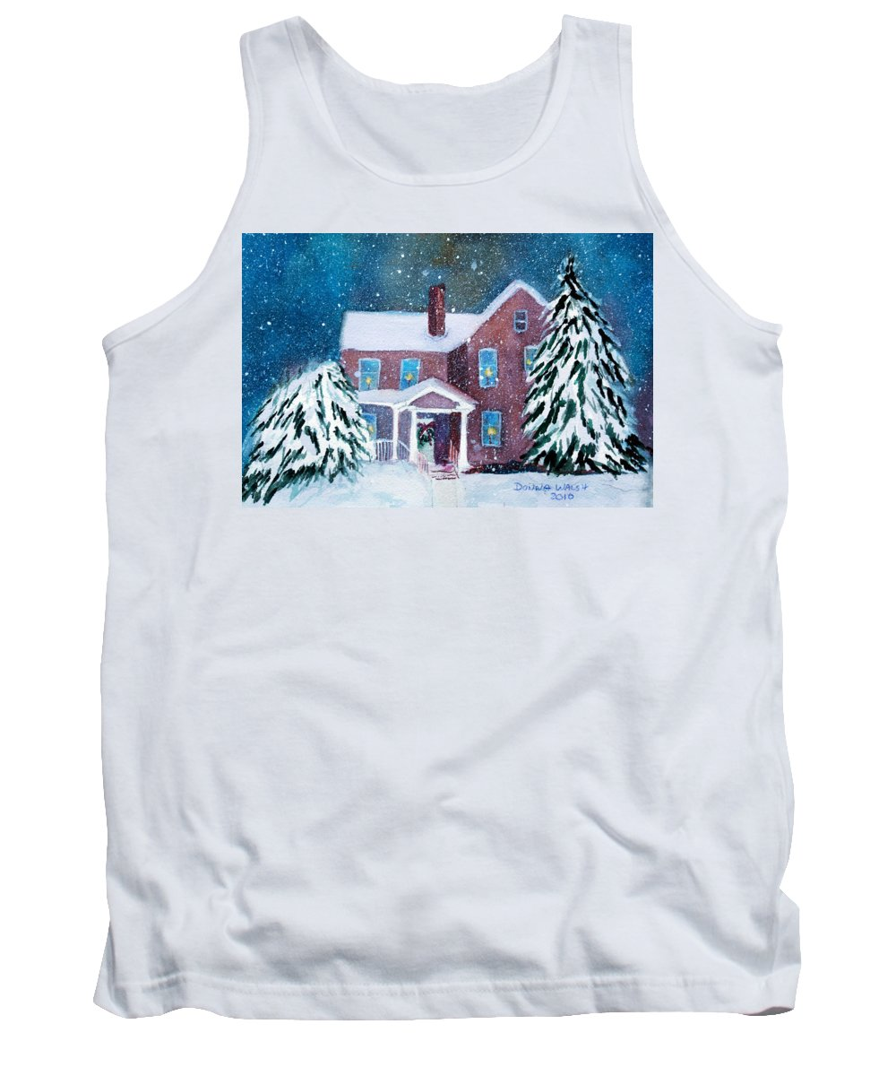 Winter Tank Top featuring the painting Vermont Studio Center In Winter by Donna Walsh