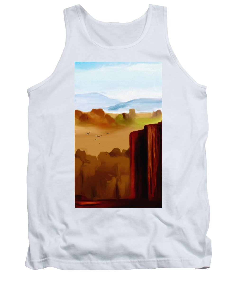 Digital Painting Tank Top featuring the digital art View From A Butte by David Lane