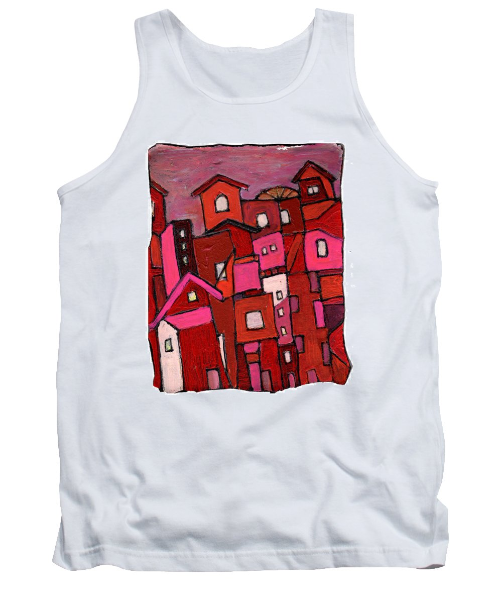 Village Tank Top featuring the painting Village In Pink by Wayne Potrafka