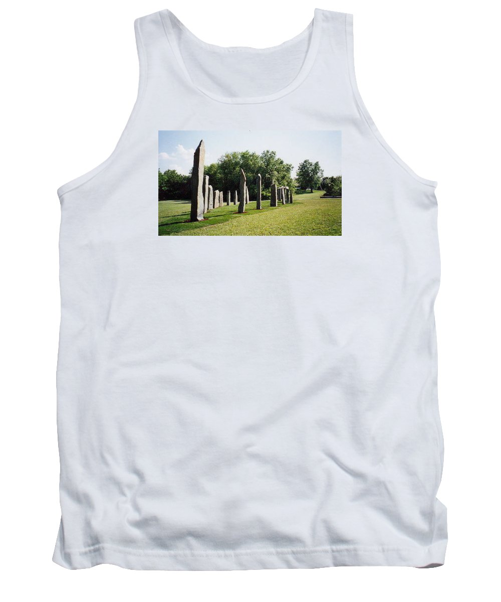 Historic Sculpture From 1999 Tank Top featuring the sculpture Vinland by Jarle Rosseland