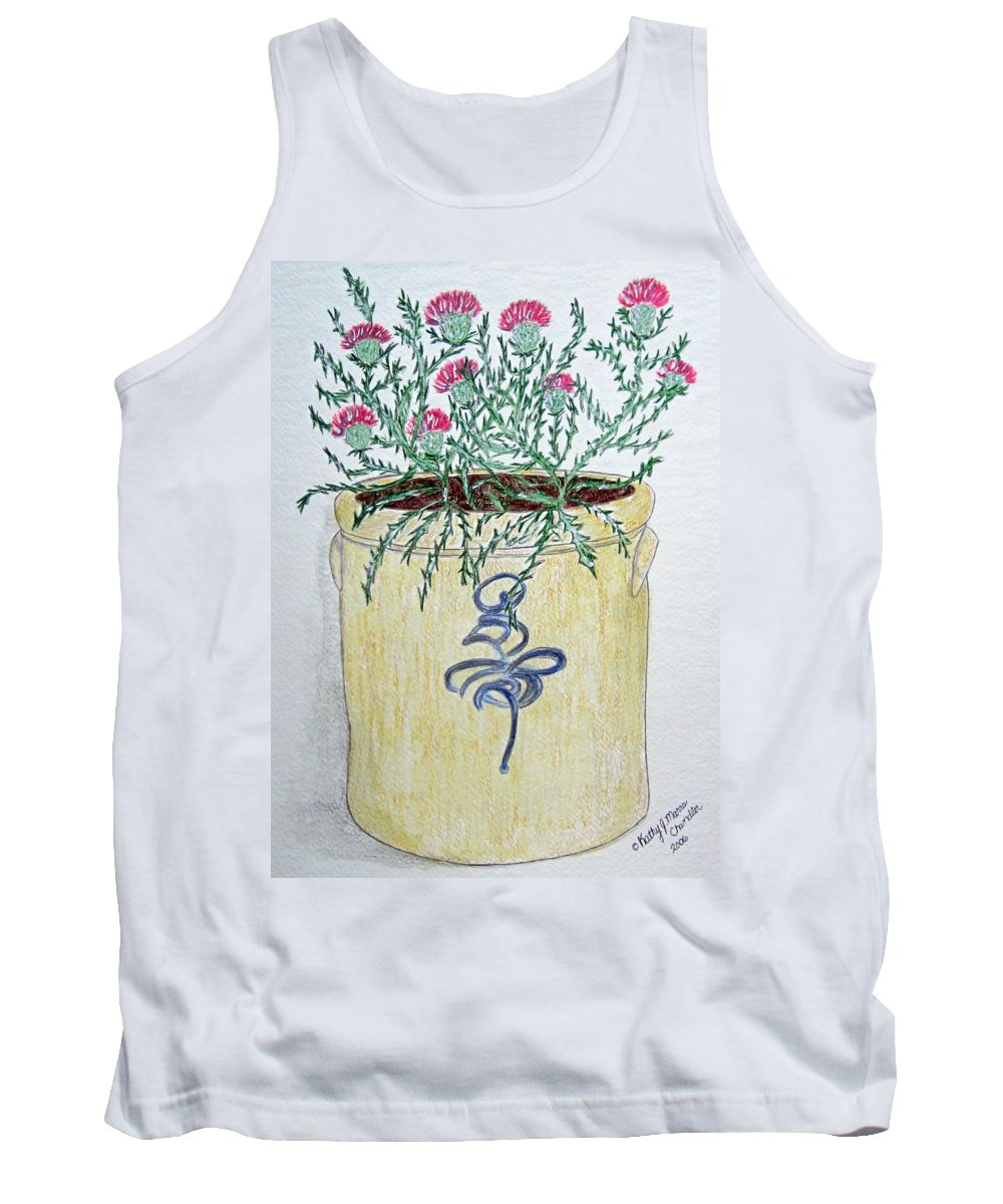 Vintage Tank Top featuring the painting Vintage Bee Sting Crock And Thistles by Kathy Marrs Chandler
