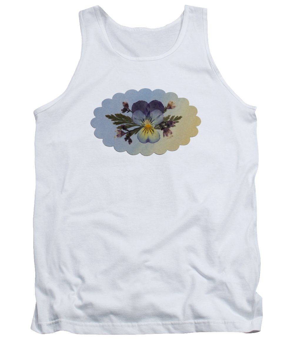 Viola Pressed Flowers Floral Garden Plants Tank Top featuring the photograph Viola Pressed Flower Arrangement by Em Witherspoon