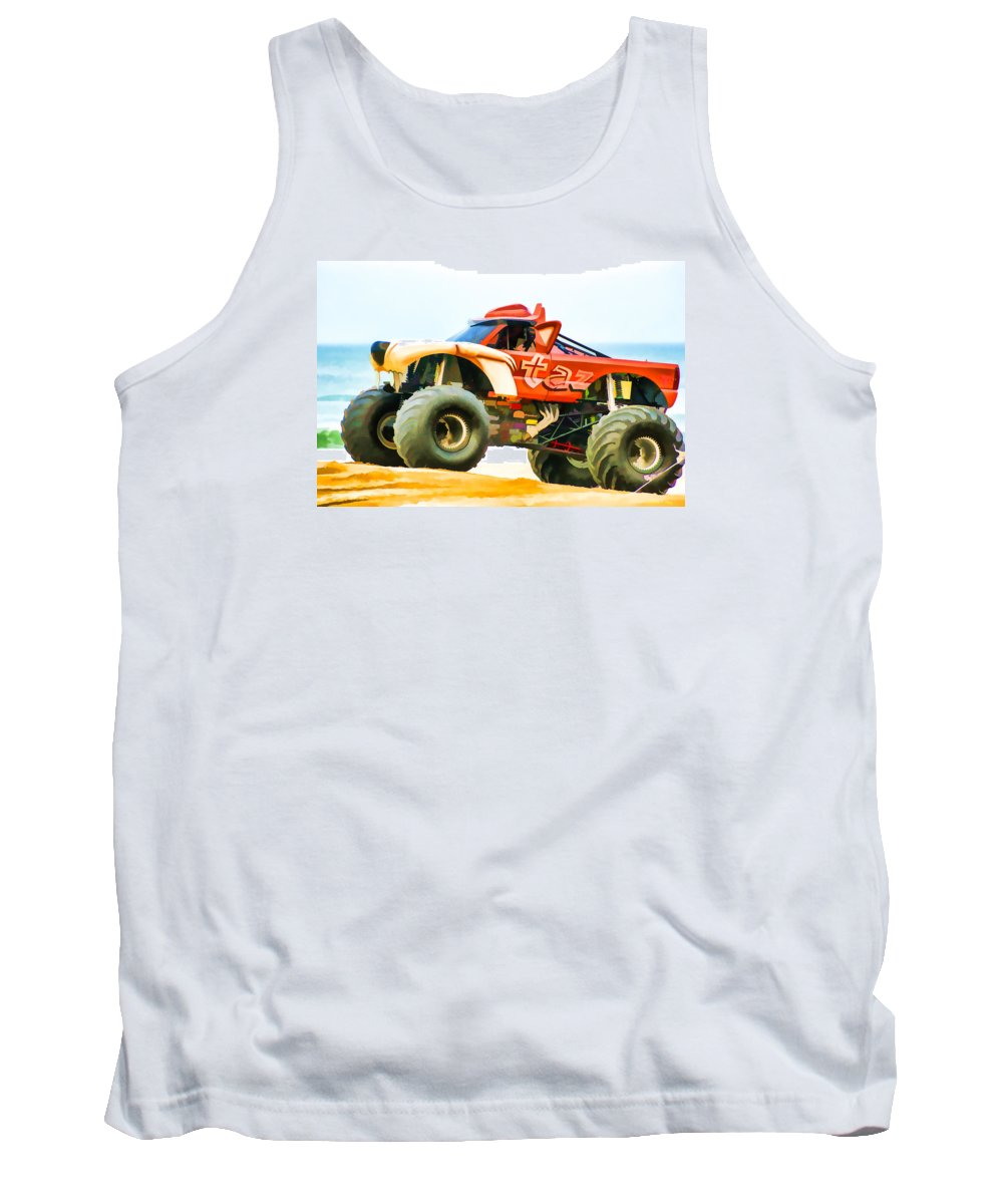 Virginia Beach Monster Truck Rally Tank Top featuring the painting Virginia Beach Monster Truck Rally by Jeelan Clark