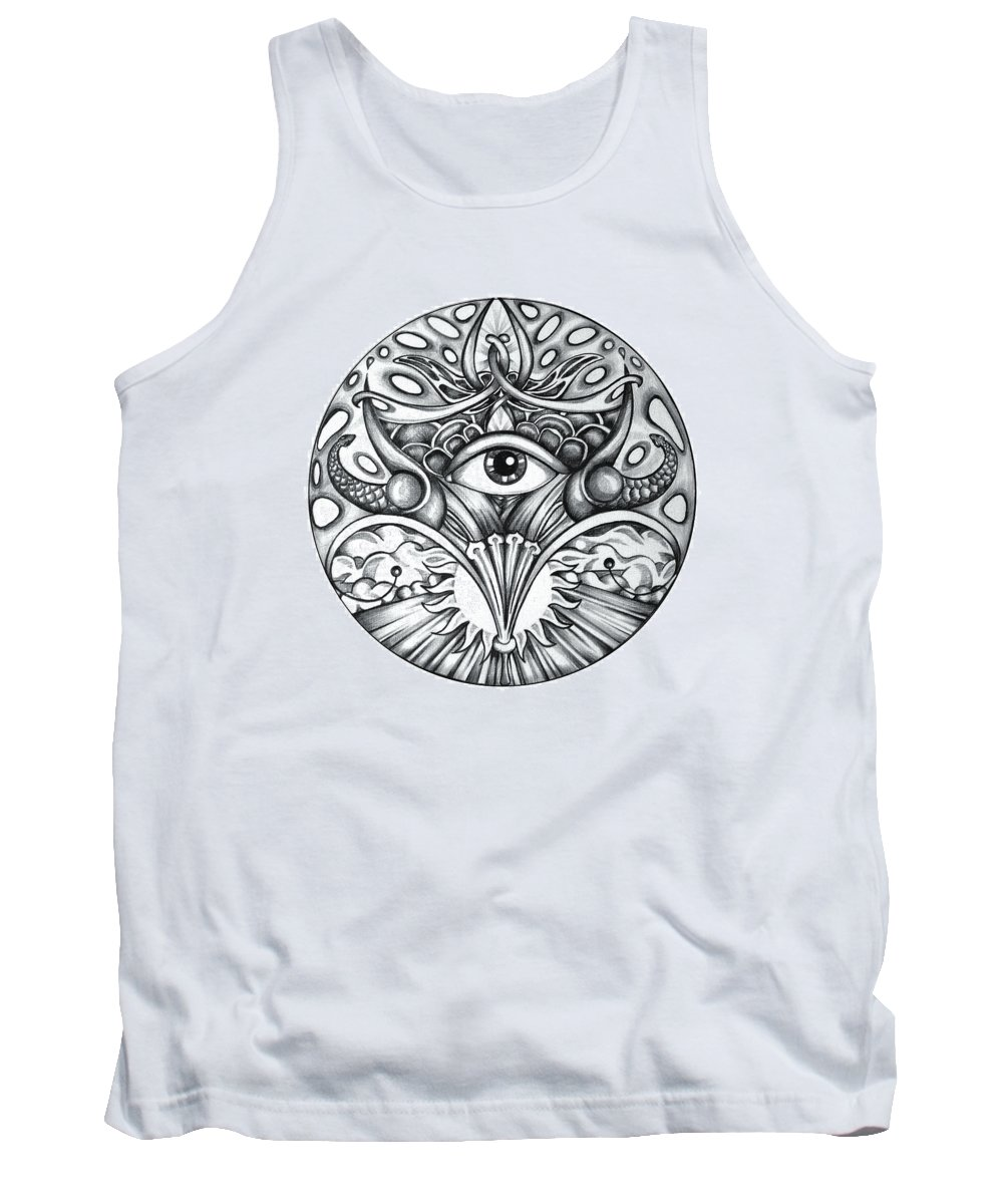 Eye Tank Top featuring the drawing Vision by Shadia Derbyshire