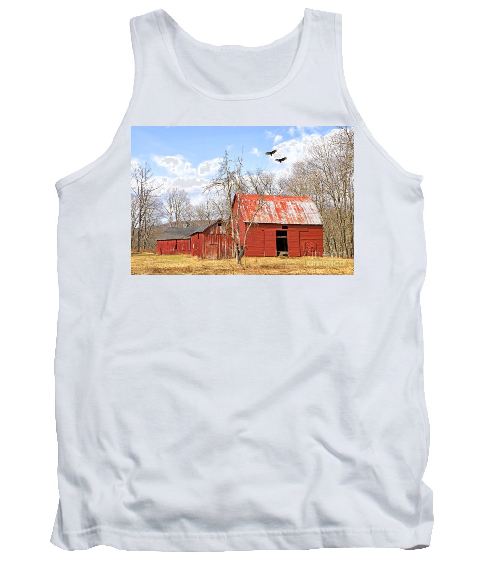 Delaware Tank Top featuring the photograph Vultures Over Barn by Paul Fell