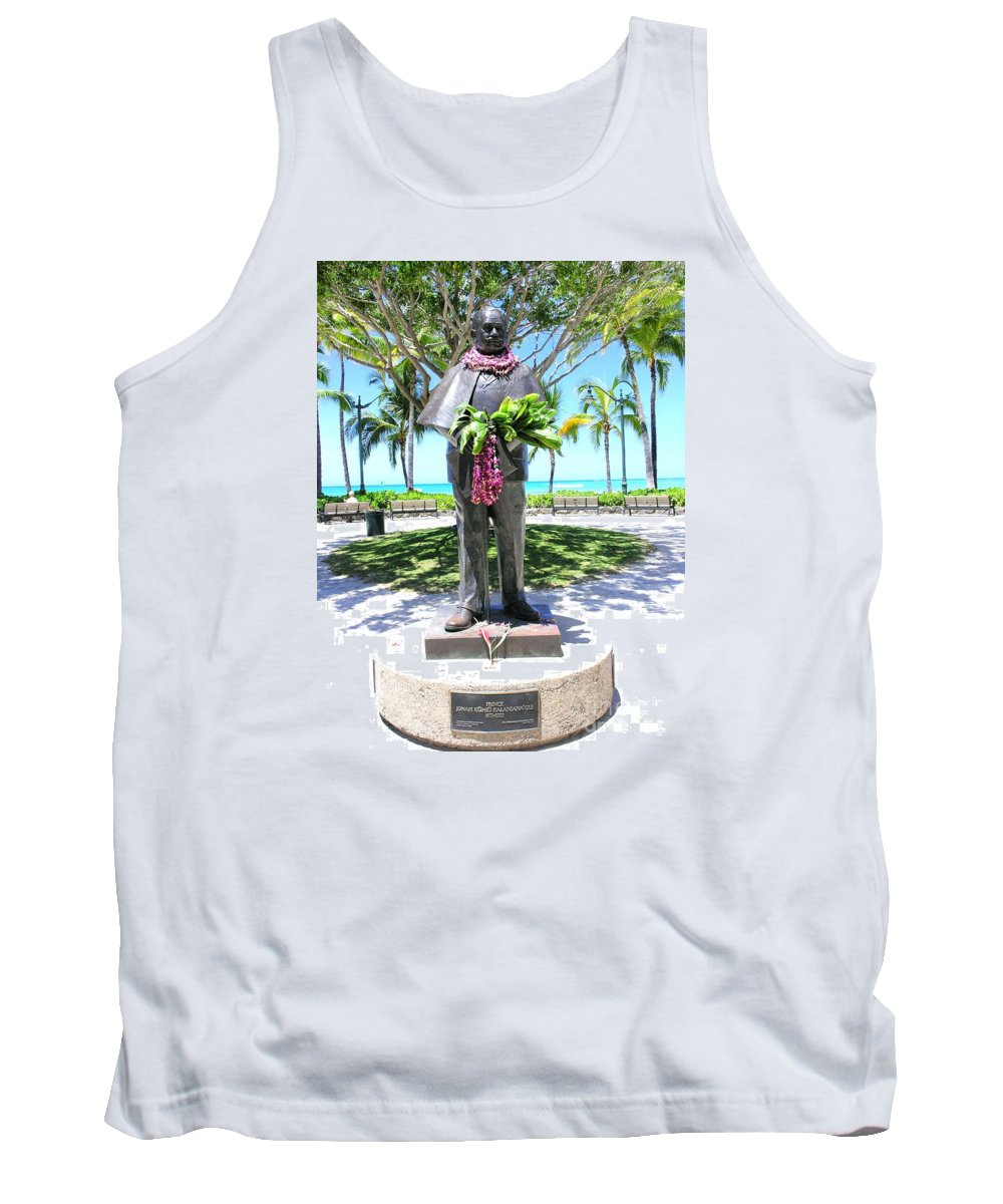 Statue Tank Top featuring the photograph Waikiki Statue - Prince Kuhio by Mary Deal
