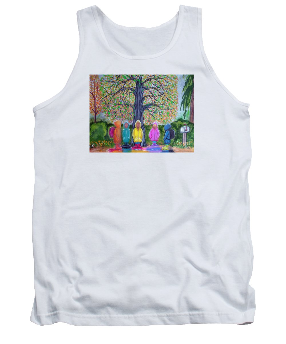 Children Tank Top featuring the painting Waiting For The Bus by Nick Gustafson