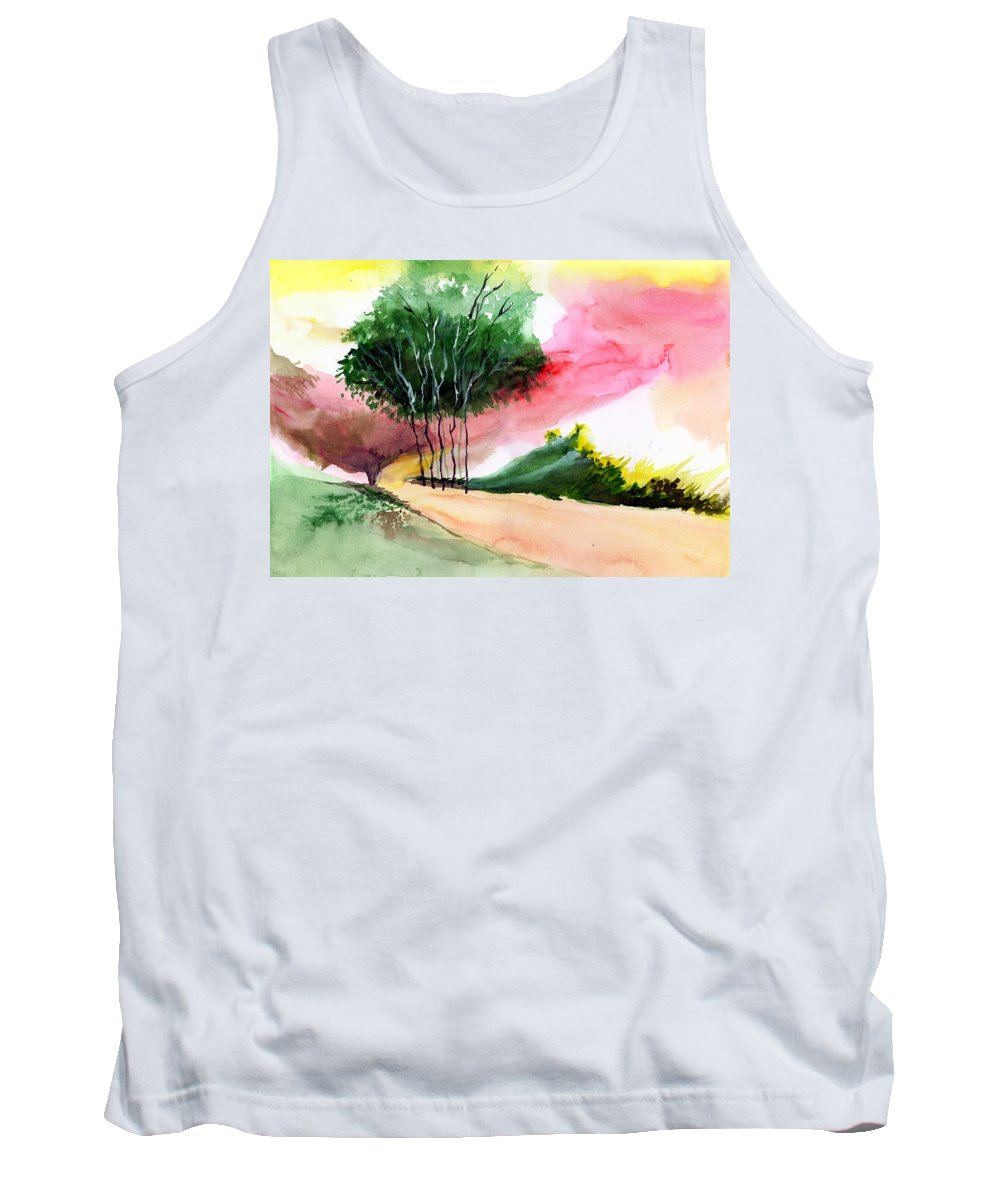 Watercolor Tank Top featuring the painting Walk Away by Anil Nene