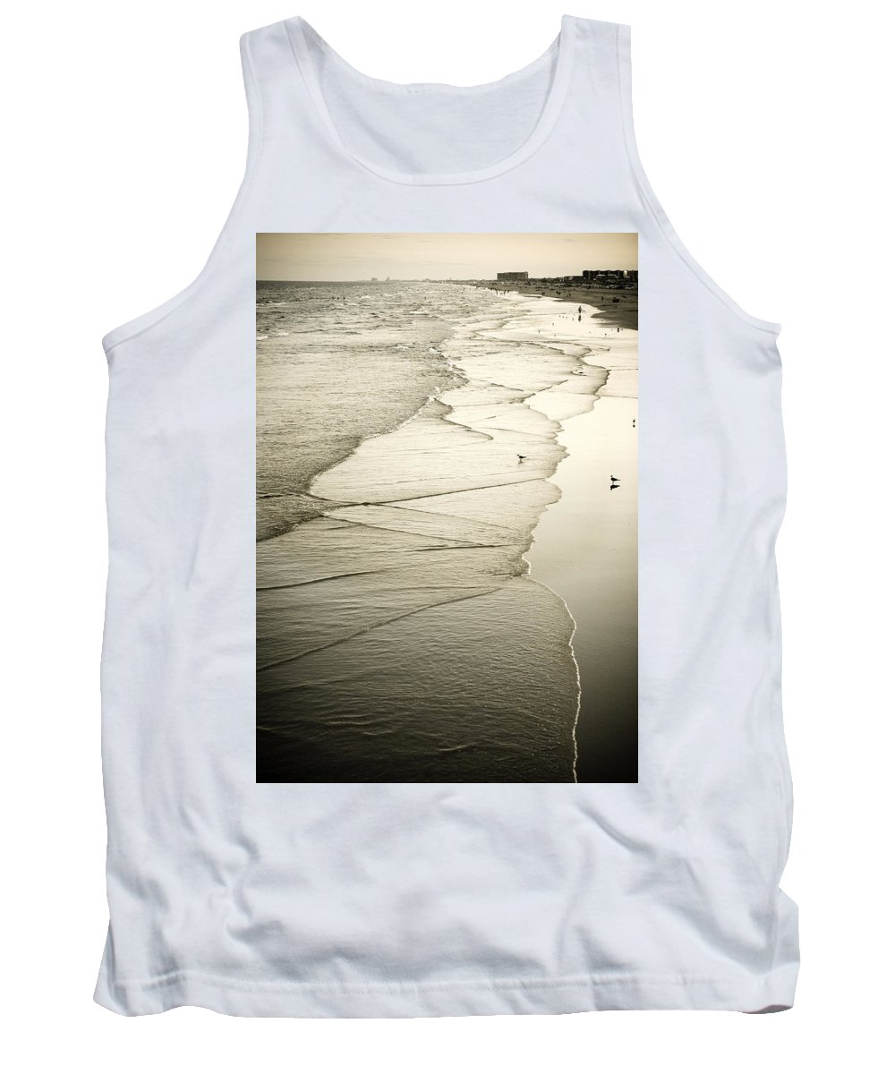 Ocean Tank Top featuring the photograph Walking Along The Beach At Sunrise by Marilyn Hunt