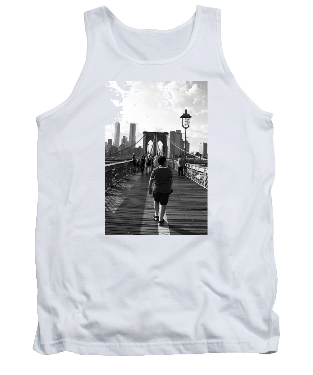 Walking Tank Top featuring the photograph Walking On Brooklyn Bridge by Alex Antoine