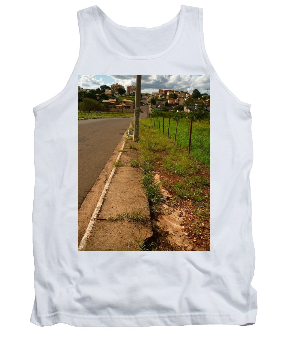 City Tank Top featuring the photograph Walking On The Curb by Beto Machado