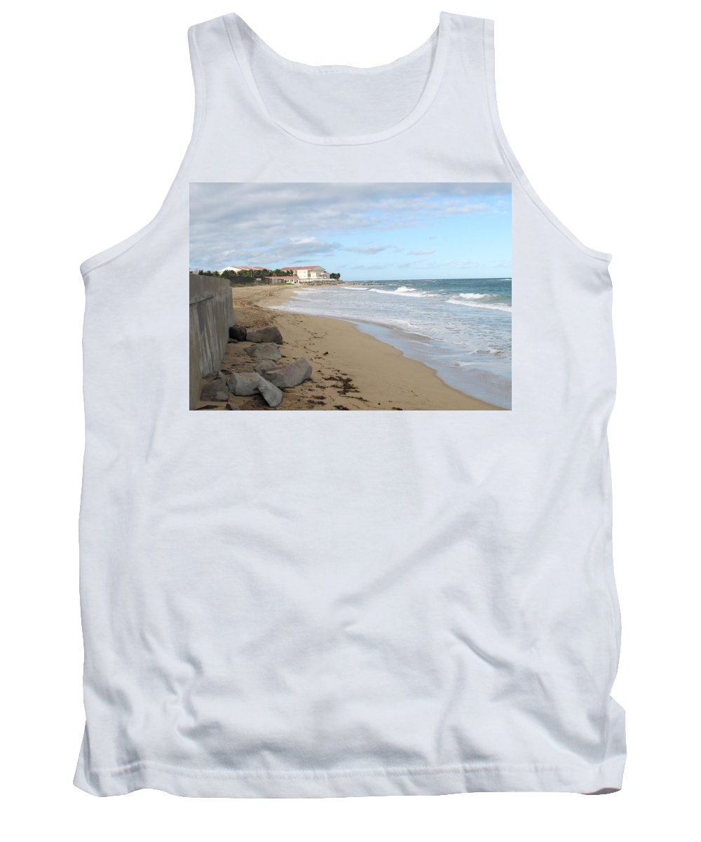 Clouds Tank Top featuring the photograph Walking The Beach In St Kitts by Ian MacDonald