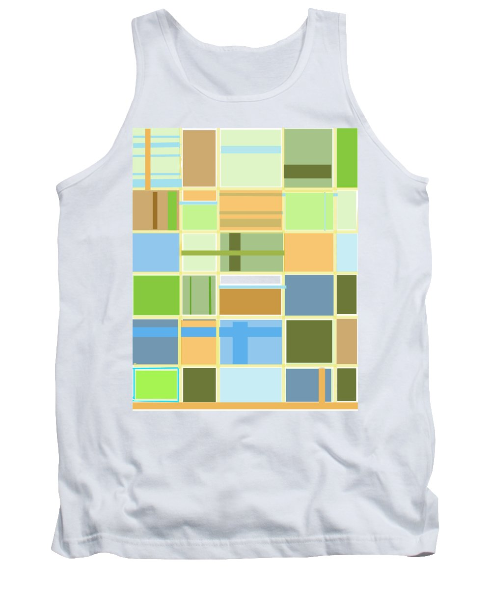 Patterns Abstract Blues Greens Squares Tank Top featuring the digital art We Are Connected by Suzanne Udell Levinger