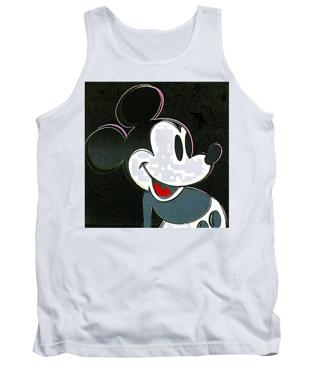 Design Tank Top featuring the digital art Warhol - Mickey 1 Andy Warhol by Eloisa Mannion