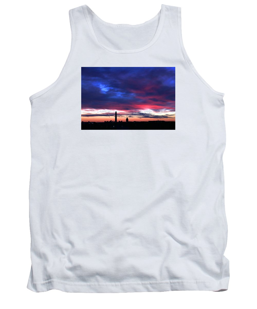 Washington Dc Tank Top featuring the photograph Washington Monument Dramatic Sunset by Steve Monell