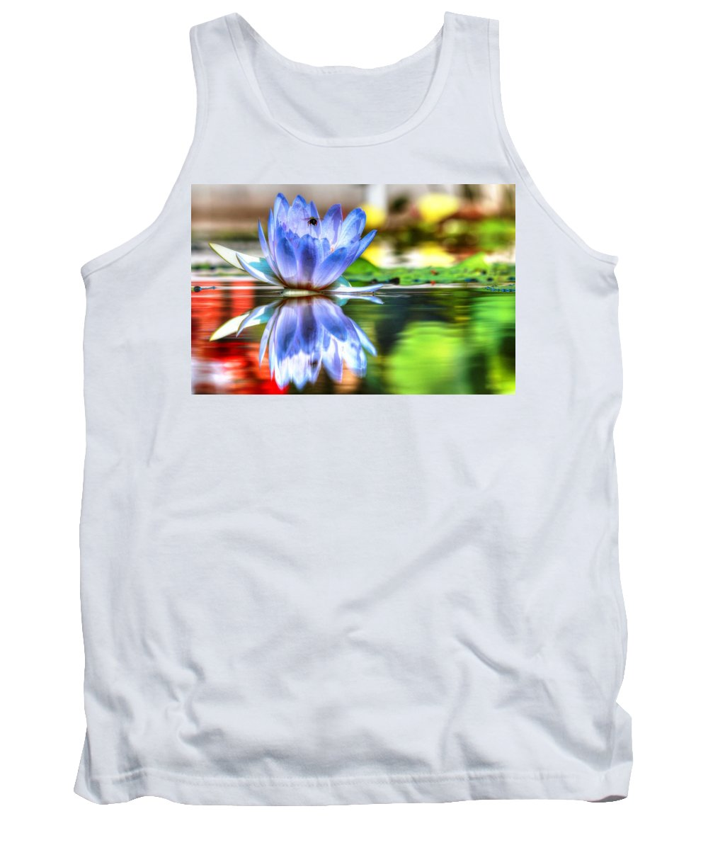 Carol R Montoya Tank Top featuring the photograph Water Lily And Bee by Carol Montoya