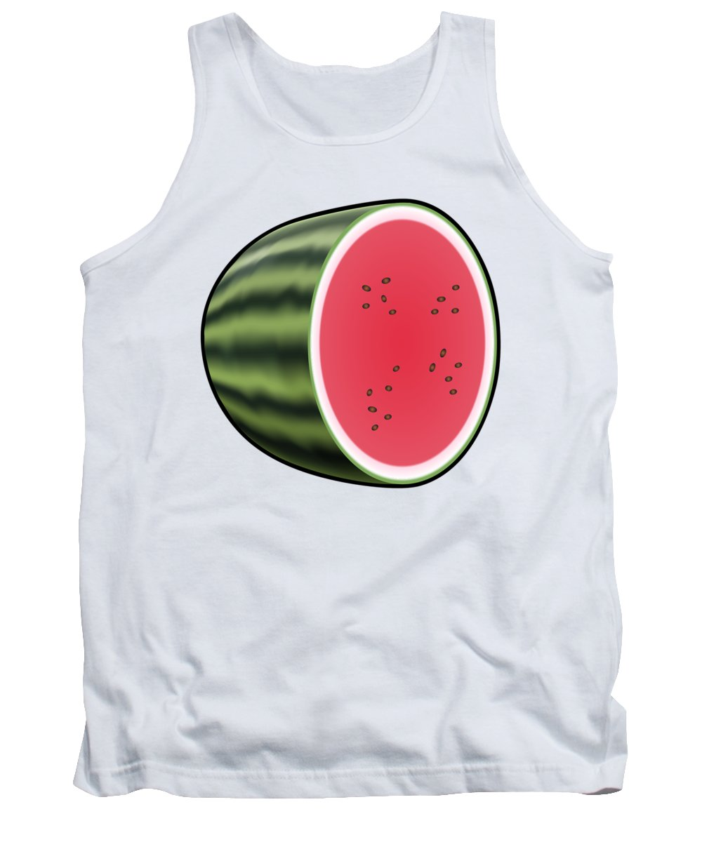 3d Tank Top featuring the digital art Water Melon Outlined by Miroslav Nemecek