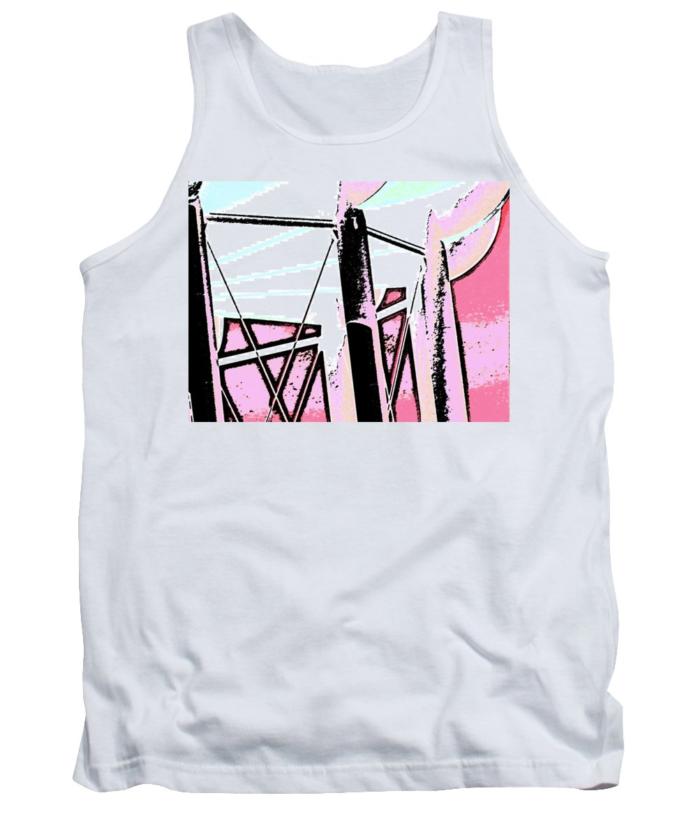 Abstract Tank Top featuring the digital art Water Tower In Pink Abstract by Lenore Senior
