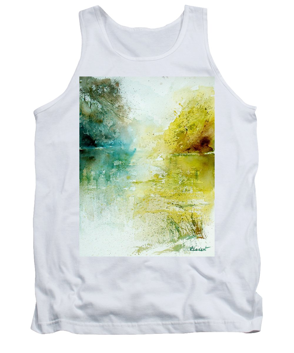 Pond Nature Landscape Tank Top featuring the painting Watercolor 24465 by Pol Ledent