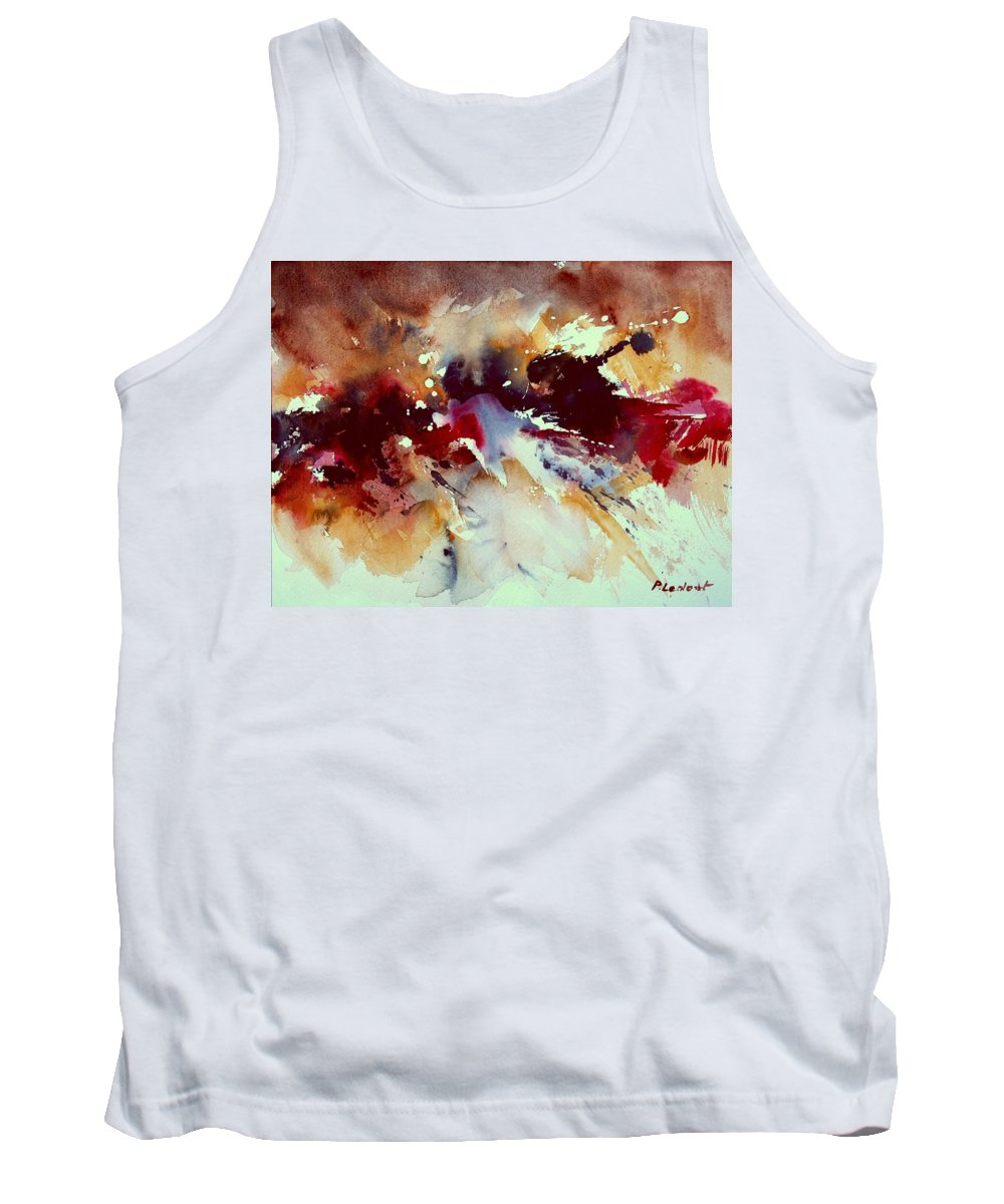 Abstract Tank Top featuring the painting Watercolor 301107 by Pol Ledent