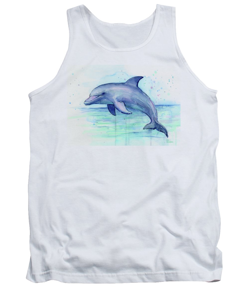 Dolphin Tank Top featuring the painting Watercolor Dolphin Painting - Facing Right by Olga Shvartsur