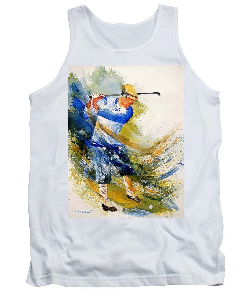 Golf Tank Top featuring the painting Watercolor Golf Player by Pol Ledent