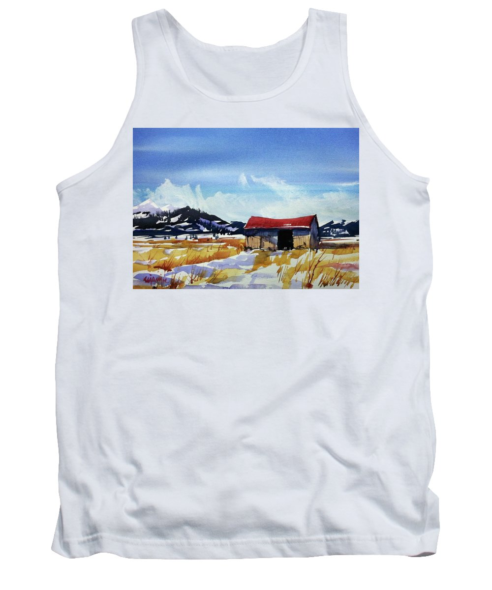 Colorado Landscape Tank Top featuring the painting Watercolor3557 by Ugljesa Janjic