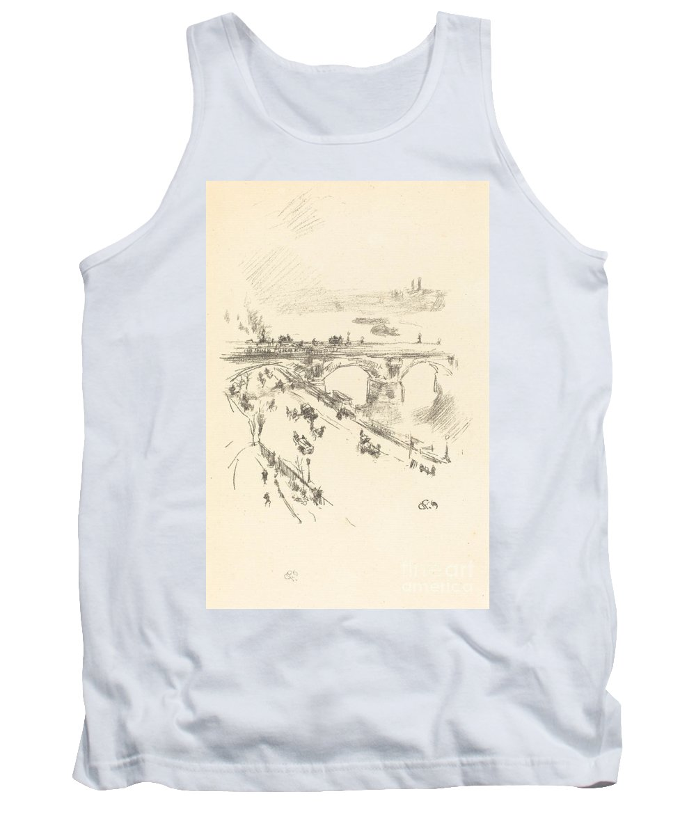 Tank Top featuring the drawing Waterloo Bridge by James Mcneill Whistler