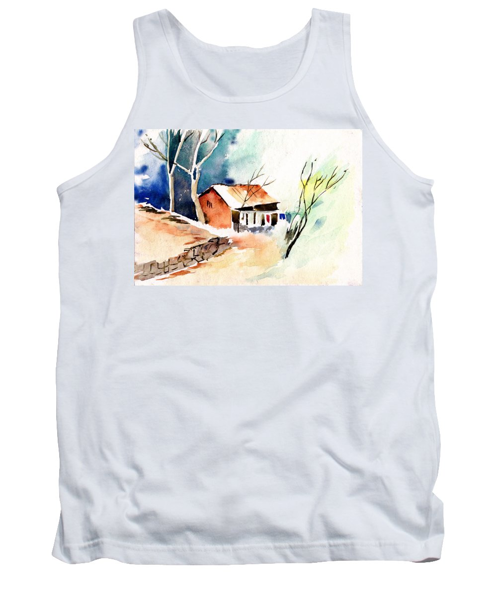 Nature Tank Top featuring the painting Weekend House by Anil Nene