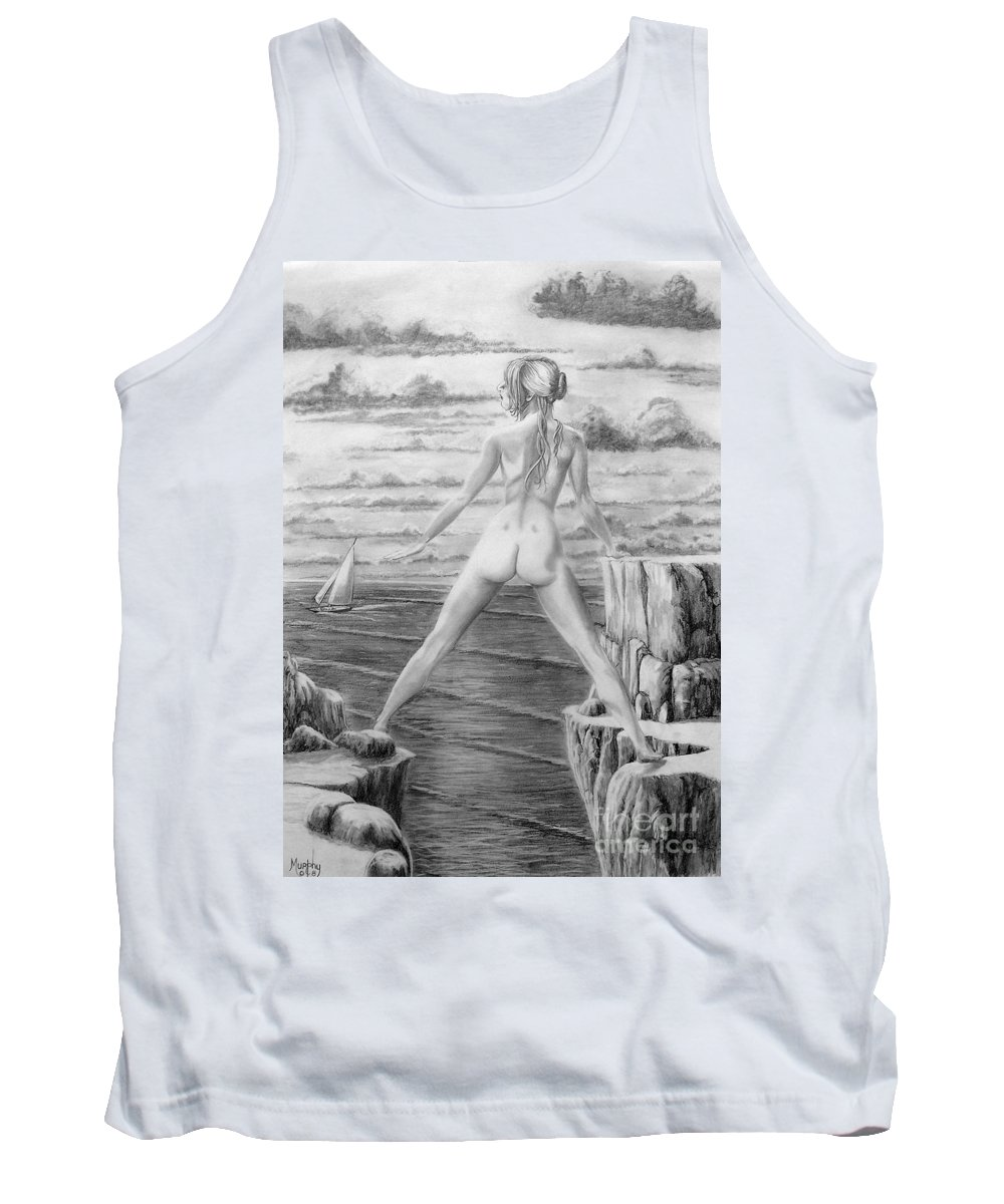 Nude Tank Top featuring the drawing Wendy From Memory. by Murphy Elliott