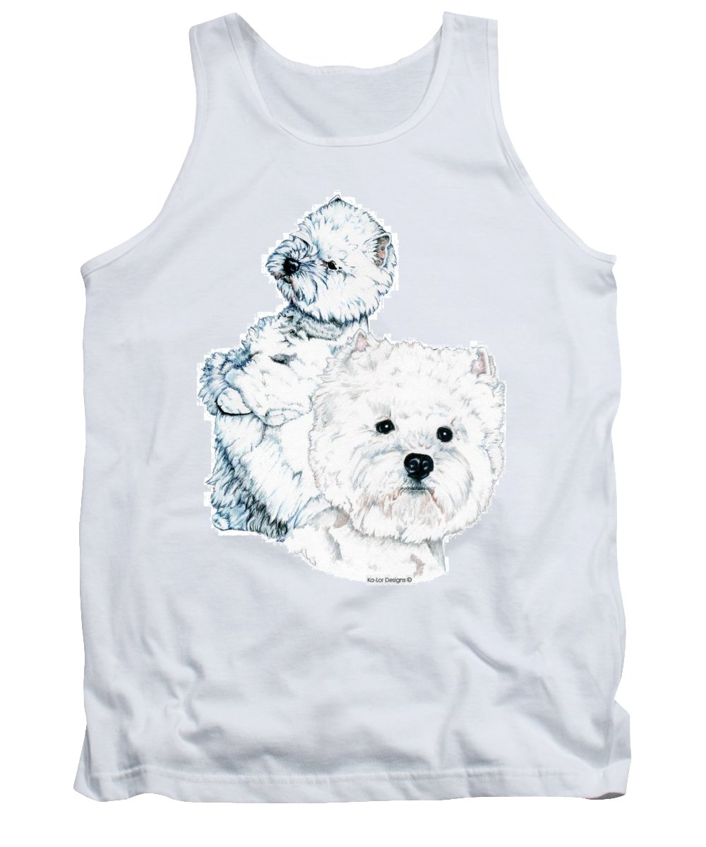 West Highland White Terrier Tank Top featuring the drawing West Highland White Terriers by Kathleen Sepulveda