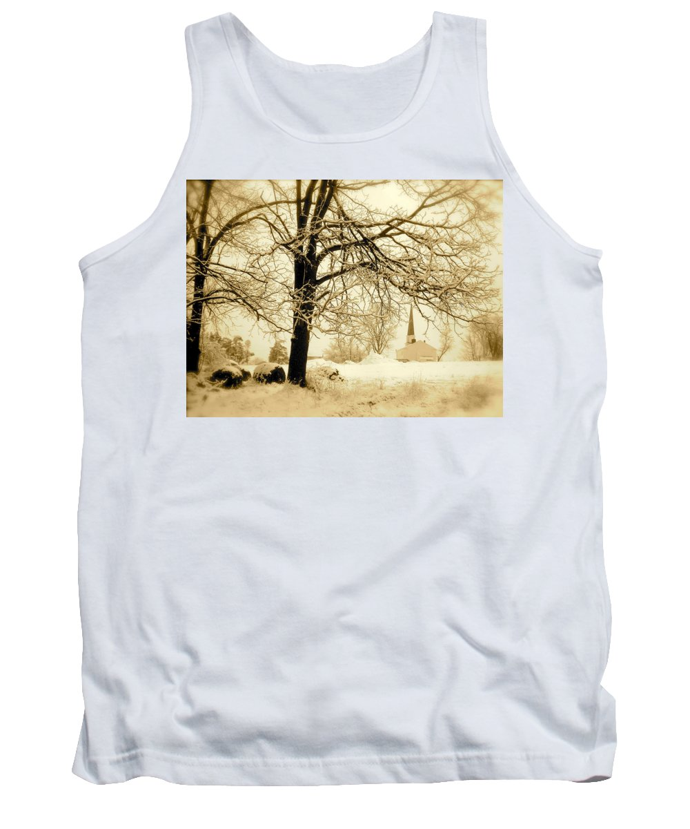 Landscape Tank Top featuring the photograph West Shelby Church by Arthur Barnes