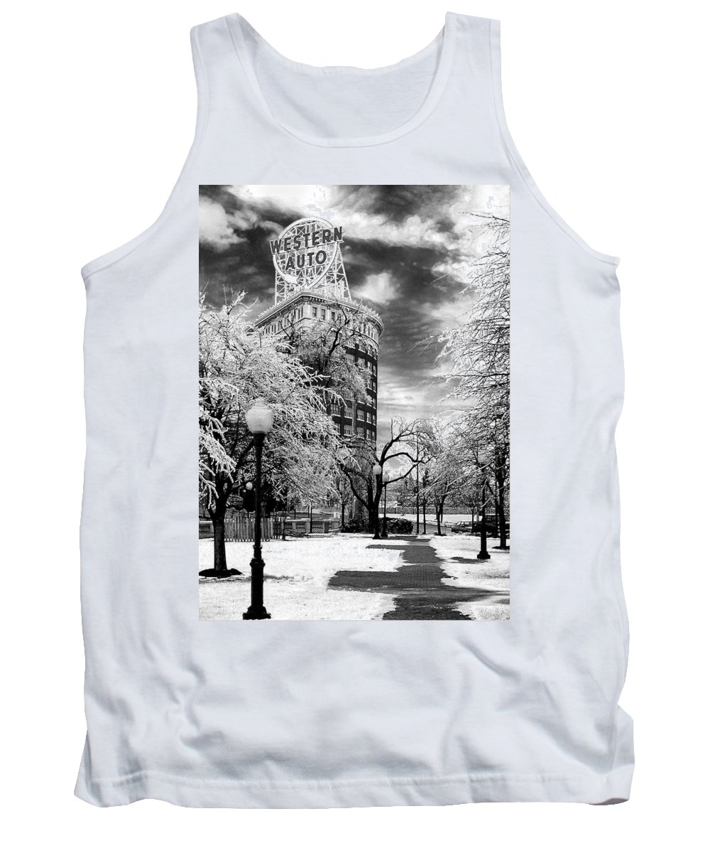 Western Auto Kansas City Tank Top featuring the photograph Western Auto In Winter by Steve Karol