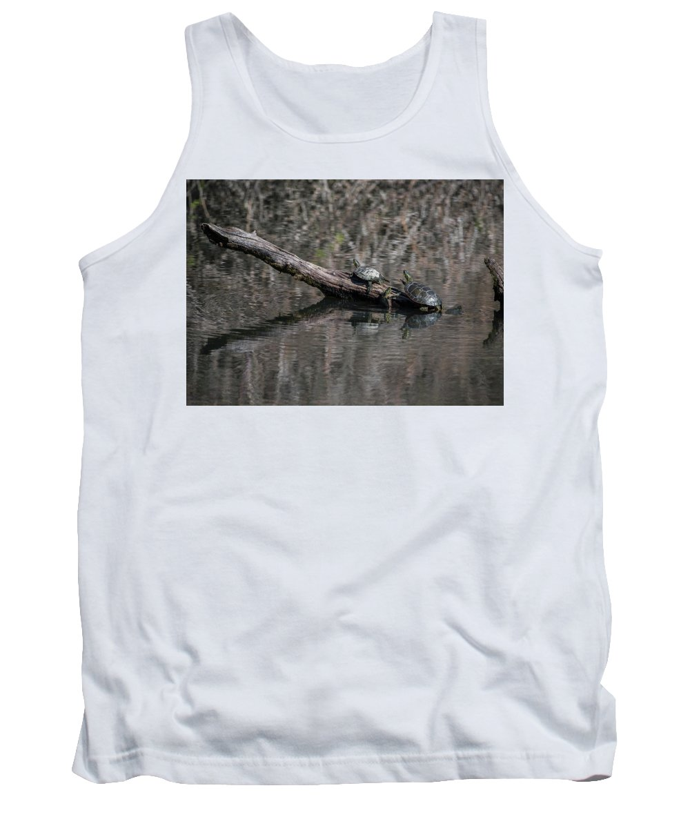Animals Tank Top featuring the photograph Western Painted Turtles On A Log by Robert Potts