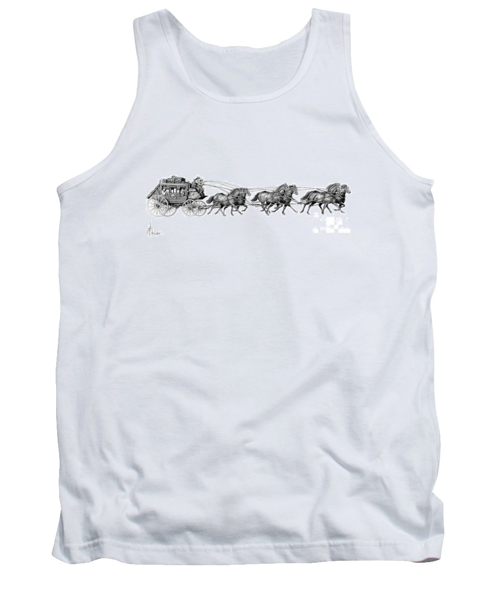 Pencil Tank Top featuring the drawing Western Stagecoach by Murphy Elliott