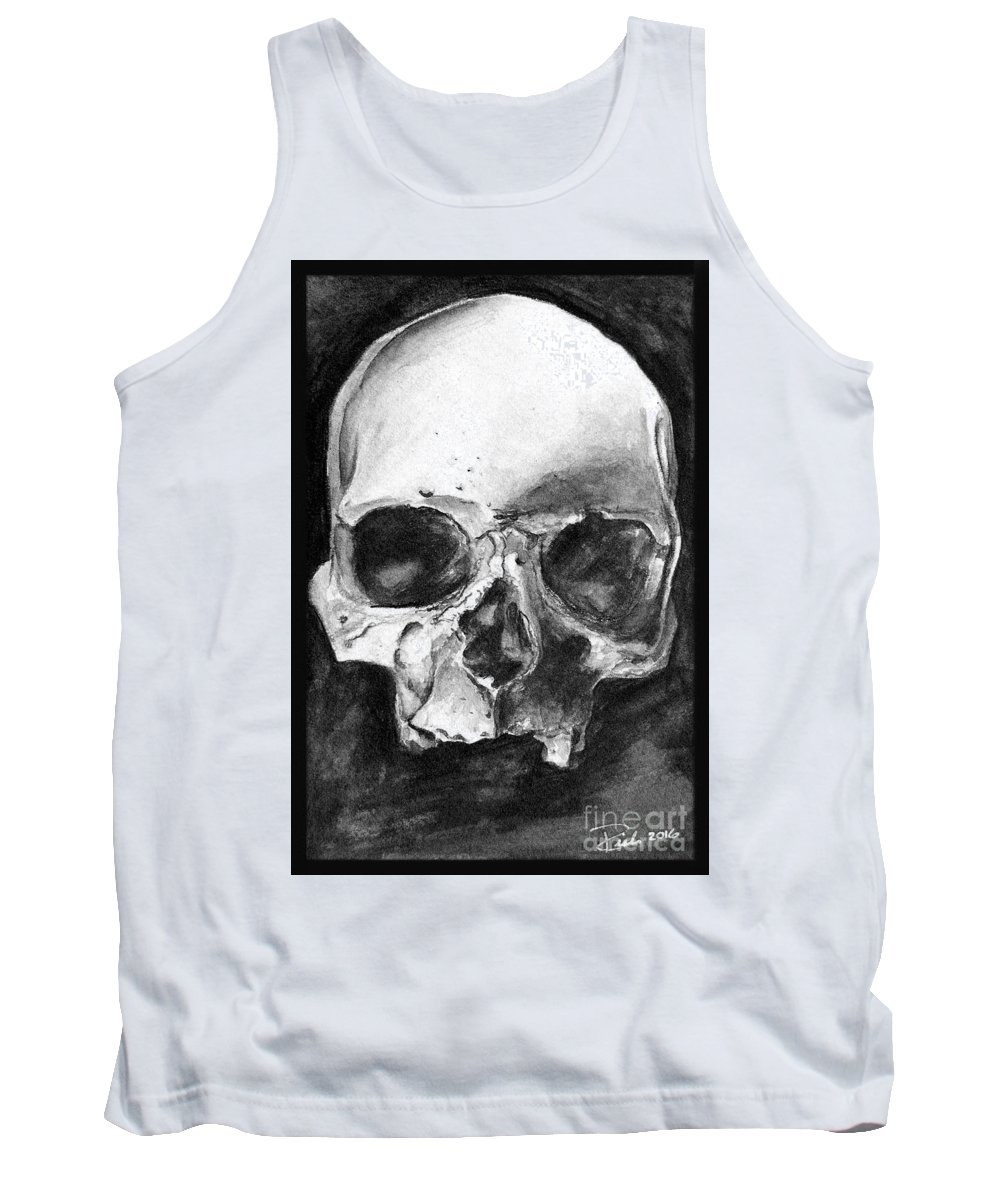 Skull Tank Top featuring the drawing What Lies Behind by Sarah Derrie