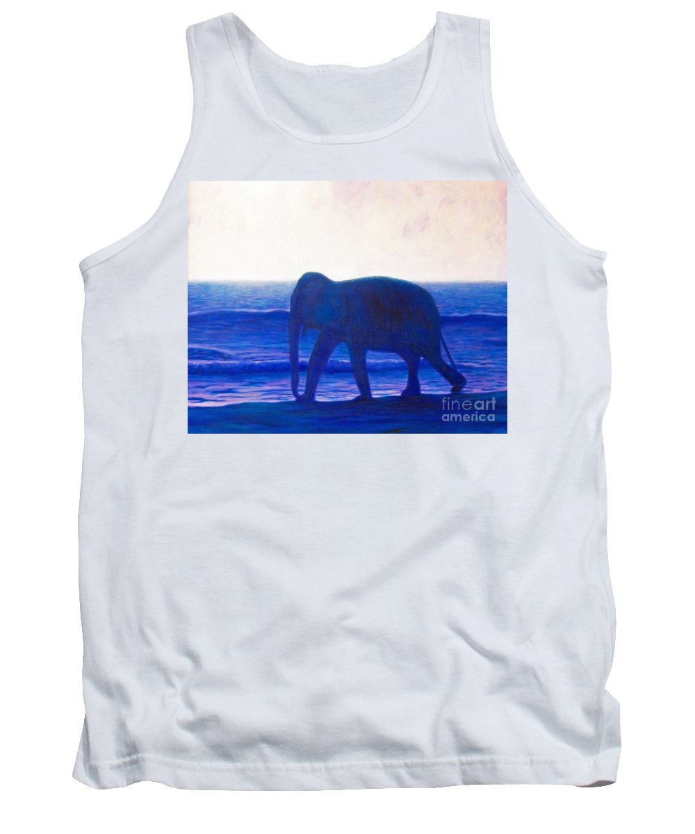 Elephant Tank Top featuring the painting When I Was Young by Brian Commerford