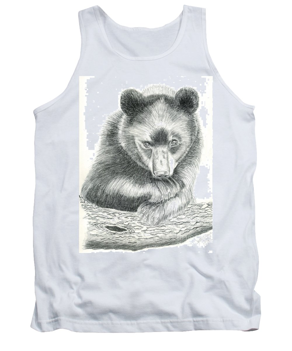 Black Bear Tank Top featuring the drawing Where by Joette Snyder