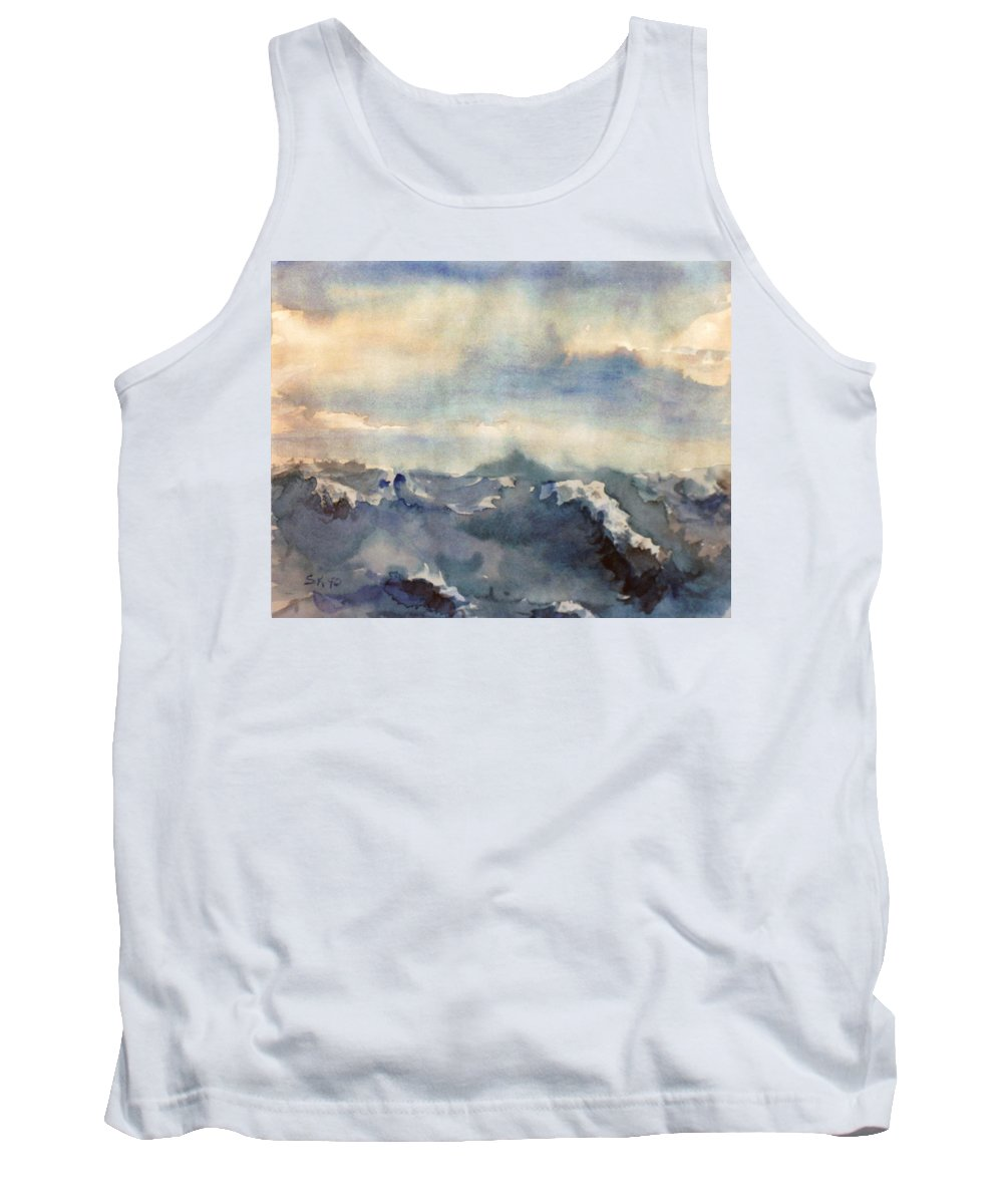 Seascape Tank Top featuring the painting Where Sky Meets Ocean by Steve Karol